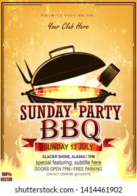 BBQ party invitation template on yellow. Summer Barbecue weekend flyer. Grill illustration with food sketches elements. Vector design for celebration, invitation, greeting card.
