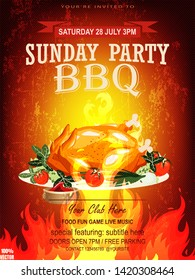 BBQ party invitation template on fire grunge. Summer Barbecue weekend flyer. Grill illustration with food sketches elements. Vector design for celebration, invitation, greeting card.