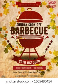 BBQ party invitation template on autumn yellow. Summeror fall  Barbecue weekend flyer. Grill illustration with food sketches elements. Vector design for celebration, invitation, greeting card.
