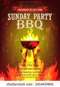 BBQ party invitation template with realistic fire on grunge. Summer Barbecue weekend flyer. Grill illustration with food sketches elements. Vector design for celebration, invitation, greeting card.