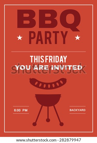 bbq party invite poster invitation card stock vector royalty free