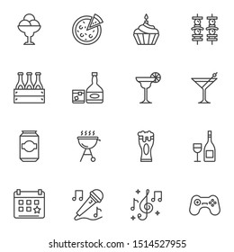 bbq party line icons set. linear style symbols collection, outline signs pack. vector graphics. Set includes icons as pizza, barbeque grill, shish kebab skewers, beer bottle, karaoke, game controller