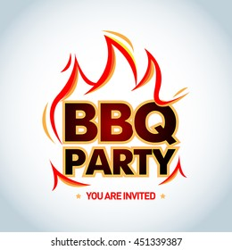 BBQ Party logotype template with flames. Barbecue party logo. Isolated Vector illustration.