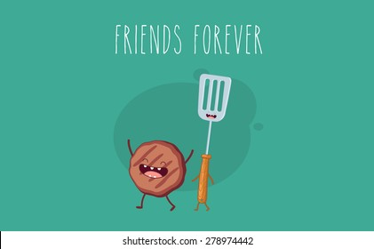 BBQ party. Meat cutlet and barbecue tool. Vector cartoon. Friends forever. Comic characters.