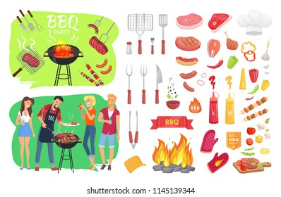 BBQ party set people cooking meat isolated icons set vector. Grilling beef and sausages. Flatware with vegetables barbeque fire and protective mittens