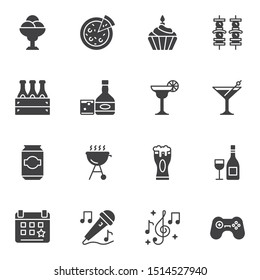 bbq party vector icons set, modern solid symbol collection filled style pictogram pack. Signs, logo illustration. Set includes icons as pizza, barbeque grill, shish kebab skewers, beer bottle, karaoke