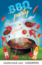 Bbq Party Vertical Banner, Oven with Steaks and Sausages, Grilling Machine with Meat, Pork, Beef Sirloins, Barbeque Food on Fire, Tomato Ketchup and Mustard Bottles, 3D Vector Realistic Illustration
