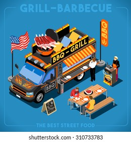 BBQ Passion Food Truck own menu. Customer lunch Delivery Master Street Chef Template. 3D Flat Icon Set Isometric Vehicle Van. Dish Love app American meal cook Barbecue Rib Cuisine Vector Illustration