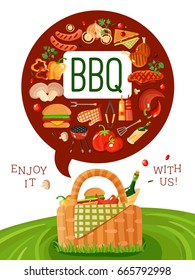 BBQ picnic invitation flat poster with barbecue accessories icons and basket on fresh green lawn  vector illustration