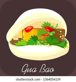BBQ pork bao, Gua bao, Pork bao, Chinese food, Taiwanese burger, Steamed bacon bao, tacos, pita
