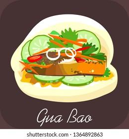 BBQ pork bao, Gua bao, Pork bao, Chinese food, Taiwanese hamburger, Steamed bacon bao