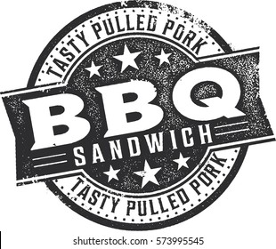 BBQ Pulled Pork Sandwich Vintage Menu Stamp