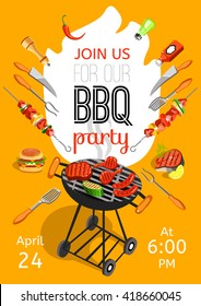 BBQ season opening party announcement flat poster with barbecue accessories event date and time abstract vector illustration