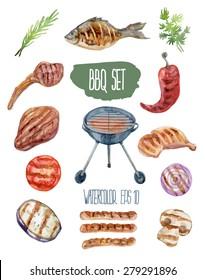 BBQ set. Vector watercolor illustration.