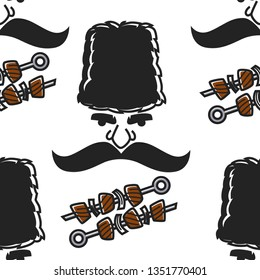 BBQ or shashlik and Georgian man face seamless pattern vector meat and mustache with hat travel to Georgia cuisine and nationality traditional headdress and beef or pork on skewer endless texture