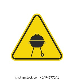 BBQ Sign Isolated On White Background. Yellow Triangle Warning Symbol Simple, Flat, Vector, Icon You Can Use Your Website Design, Mobile App Or Industrial Design. Vector Illustration