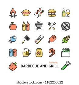 Bbq Signs Color Thin Line Icon Set Include of Sausage, Steak, Fire, Grilled and Fork. Vector illustration of Icons