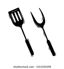 BBQ spatula doodle. Barbeque cutlery. Vector illustration hand drawn