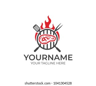 BBQ and steak with fire logo template. Grill and meat with fork and spatula vector design. Fast food illustration