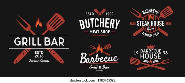 BBQ and Steakhouse logo set. Vintage barbecue emblems. Restaurant labels, emblems, logo. Vector logo template