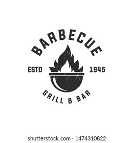 BBQ and Steakhouse vintage logo design. Barbecue emblem. Restaurant label, emblem, logo