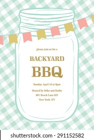 BBQ Summer Invitation Template with Mason Jar and Flags