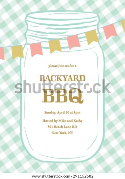 Bbq Summer Invitation Template Mason Jar Stock Vector Royalty Free