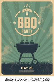 BBQ time. Barbecue party. Vintage poster. Memorial day