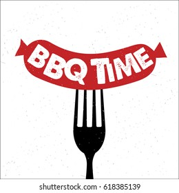 BBQ time. Hand drawn typography poster.Vector Typography.