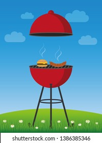 bbq time in summer red kettle barbecue with sausage and burger vector illustration EPS10