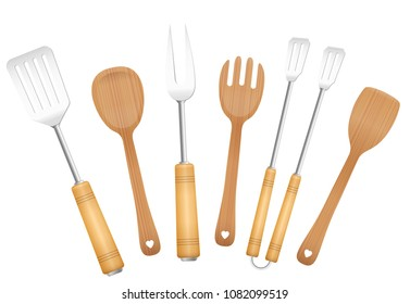 Bbq tools and salad servers. Charming vintage barbecue utensils. Tongs, skewer, fork, spoon and spatulas - isolated vector illustration on white background.