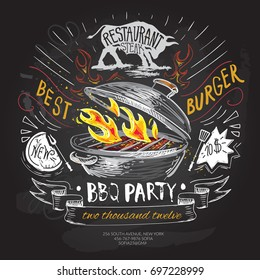 BBQ vector logo design template. Barbecue party/ hamburger, burger or menu board icon, chalkboard background