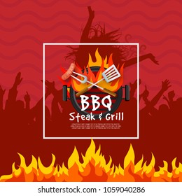 BBQ's party Square Add for commercial use