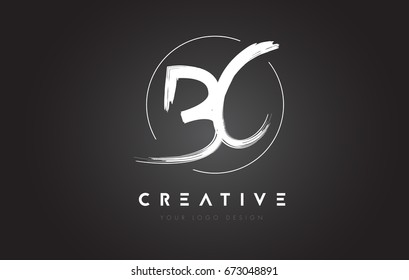 BC Brush Letter Logo Design. Artistic Handwritten Brush Letters Logo Concept Vector.