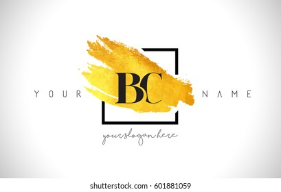 BC Golden Letter Logo Design with Creative Gold Brush Stroke and Black Frame.