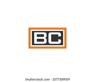 BC initial box letter logo template vector