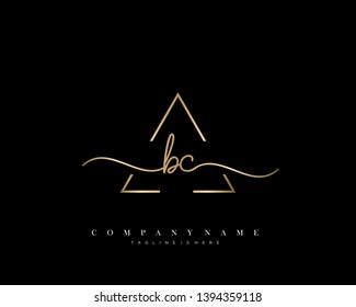 BC initial handwriting logo template vector