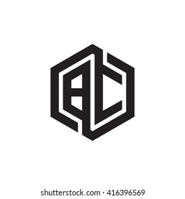 BC initial letters loop linked hexagon monogram logo