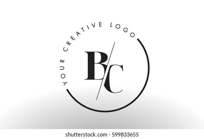 BC Letter Logo Design with Creative Intersected and Cutted Serif Font.