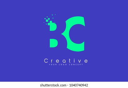 BC Letter Logo Design With Negative Space Concept in Blue and Green Colors Vector