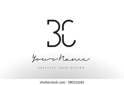 BC Letters Logo Design Slim. Simple and Creative Black Letter Concept Illustration.