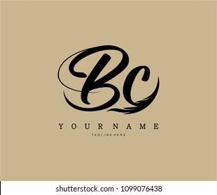 BC Logo Artistic Brush Stroke Vector Illustration