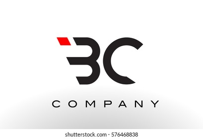 BC Logo.  Letter Design Vector with Red and Black Colors.