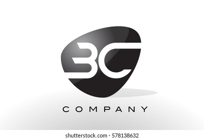 BC Logo. Letter Design Vector with Oval Shape and Black Colors.