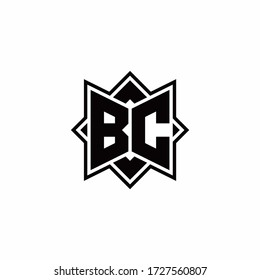 BC monogram logo with square rotate style outline design template