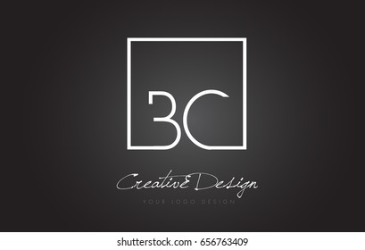 BC Square Framed Letter Logo Design Vector with Black and White Colors.