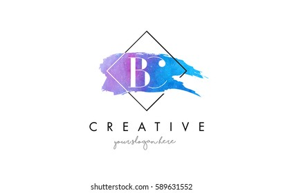 BC Watercolor Letter Brush Logo. Artistic Purple Stroke with Square Design.