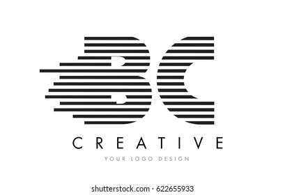 BC Zebra Letter Logo Design with Black and White Stripes Vector