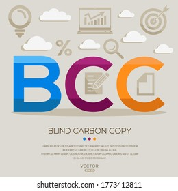 bcc  mean (blind carbon copy) ,letters and icons,Vector illustration.