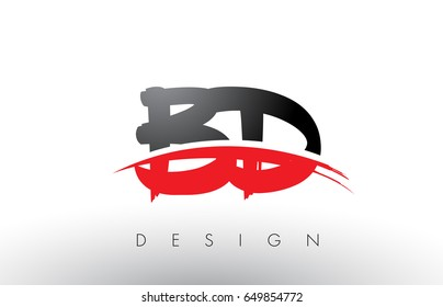 BD B D Brush Logo Letters Design with Red and Black Colors and Brush Letter Concept.